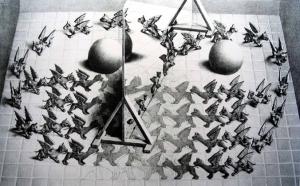Det finnes mange vitenskapelige bilder av supersymmetri. Ingen av dem forklarer egentlig hva det går ut på. Escher, derimot, hadde utmerket peiling.