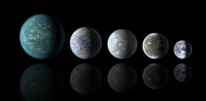 Sammenligning av planetstørrelser. Fra venstre: Kepler-22b, Kepler-69c, Kepler-62e og Kepler-62f (NASA).