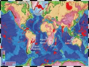 Kartet viser steder på Jorden med store ansamlinger av størknet lava (i rødt). De aller største røde områdene er rester etter store vulkanprovinser. Figur: Sverre Planke, VBPR.