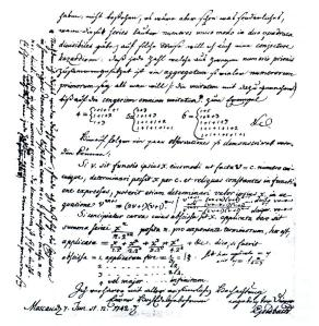 Faksimile av Goldbachs brev til Euler