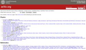 Forsiden til arXiv.org. Itt'no fancy her, bare lenker - og vanvittige mengder artikler til fri lesing.