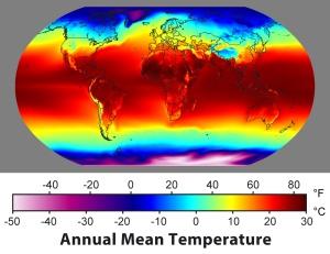 Illustrasjon av jordens middeltemperatur gjennom et år. Det er mye varme rundt ekvator, og mye hav. Hva havene gjør, betyr mye for hele jordens temperatur.