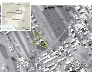CIA luftfoto av Osama bin Ladens skjulested i Abbottabad (Kilde: Wikipedia)