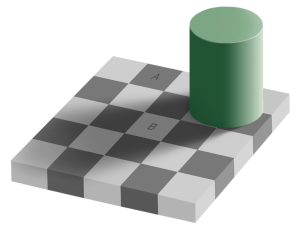 Rutene A og B har nøyaktig samme farge.